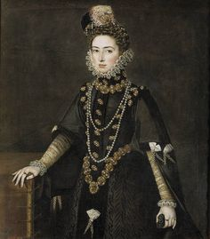Catherine Michelle of Spain (Spanish: Catalina Micaela de Austria) (10 October 1567 – 6 November 1597) was the youngest surviving daughter of Philip II of Spain and Elisabeth of Valois; she was also the sister of Isabella Clara Eugenia, Governor of the Habsburg Netherlands. Portrait: Sanchez Coello, Alonso  c1585 Prado museum, Madrid, Spain