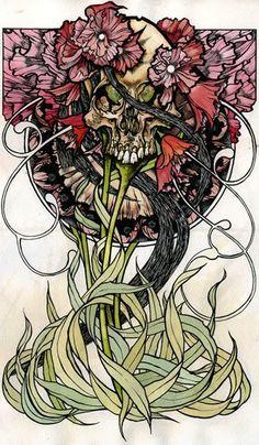 Illustration | Skull | Art Nouveau | Floral
