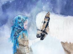 рисовальный акварельный флешмоб, акварель, девочка и пони, лошадь, зима, платок, узор, снежная акварель, картина, продается, сюжет с людьми