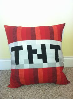 Minecraft Inspired TNT Throw Pillow by CraftyCreepers on Etsy, $40.00