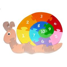 Counting Snail - Childrens Educational Wooden 3D Puzzle