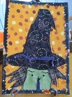 Halloween Fabric Post Card Witch by suquilt on Etsy, $8.00