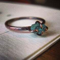 Raw Apatite & Copper Ring /// Neon Blue Apatite by Bearingthorns, $55.00