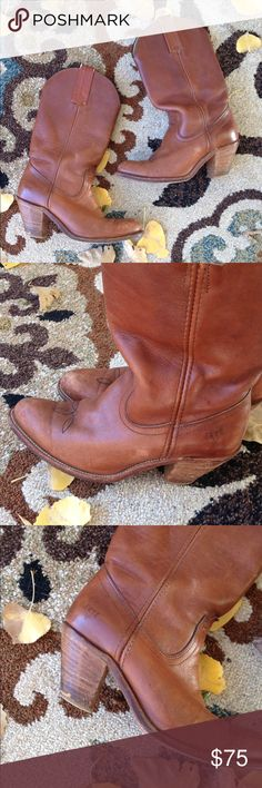 ✨Frye Leather Cowgirl Boots✨ Rugged and worn genuine leather boots. One leather ring peeled off base of one heel (pic#3)Raw inside. Very cute and stylish. A tight 7.5 Frye Shoes Heeled Boots