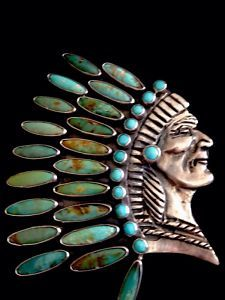 View Item: A Great Sterling & Turquoise Indian Head Pin/Pendant by Federico Jimenez Designs Ethnic Jewelry, Boho Jewelry, Antique Jewelry, Jewelery, Silver Jewelry, Vintage Jewelry, Western Jewelry, Native American Jewellery, American Indian Jewelry