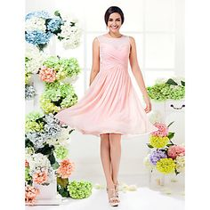 Bridesmaid Dress Knee Length Georgette A Line Jewel Dress (1466939) – USD $ 54.99