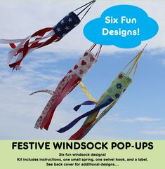 Make a festive windsock for every occasion. 6 applique shapes included... or personalize with your own design! Kit includes Instructions, one small spring, one small swivel hook, and a label. Size: 5-1/2in D x 36in Long (not including strings) Additional Spring: Small Only - FQG121 Additional Swivel Hooks: FQG136 Small Swivel Hook Skill Level: Intermediate