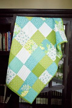 lovely green and aqua patchwork by whimsy quilts