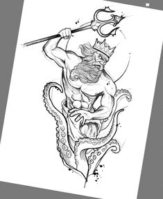 Drawing created by Brazilian artist Felipe (phil.tattoo) from Rio - Tattoo Arts. Clock Tattoo Design, Sketch Tattoo Design, Tattoo Sketches, Tattoo Drawings, Sketch Ink, Tattoo Word, Arm Tattoo, Sleeve Tattoos, Posiden Tattoo
