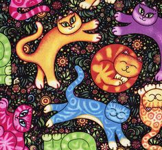 Sew Catty Colorful Cat Fabric by Dan Morris by FabricAndTreasures