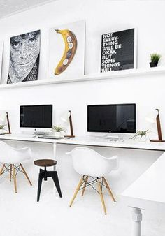 Home Office Inspiration Workspace Inspiration, Interior Inspiration, Chaise Style Eames, Office Workspace, Office Decor, Office Spaces, Home Office Design, House Design, Office Designs