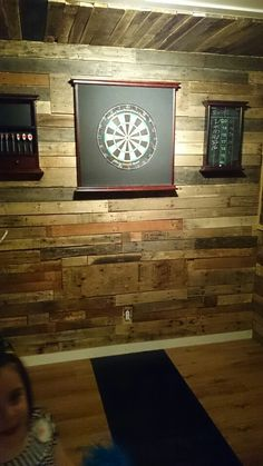 Pallet board looks amazing!!!!!! What a nice way to decorate your dart board area. Done this past weekend by good friends. :)