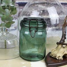 Authentique Bocal DURFOR en verre de couleur verte : Très tendance en tant que vase, c'est un bel objet déco plein de charme pour une ambiance très cosy.