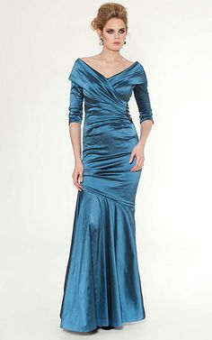 Teal V Neck Portrait Collar Mermaid Dress Mother Of The Bride Wedding
