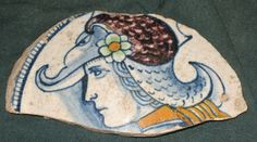 frammento di coppetta petal-back siglato FB per Francesco di Bernardino del Berna di Nanni, ritrovato ad Acquapendente. (1520 circa)