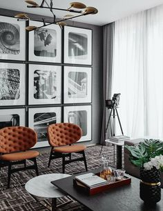Love the modern look of large-scale prints from floor to ceiling.