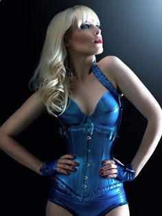 Latex Underbust Corset with Frills and bows made to by OohLaLatex, 283.00 - pretty. Love the color! .