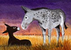 Gray Andalusian Donkey Jennet Mare Foal Twilight by DeniseEvery