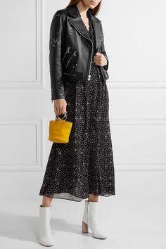 Sandy Liang - Astro Delancey Embroidered Textured-leather Biker Jacket - Black - FR40