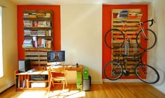 bike rack and book shelve from pallet