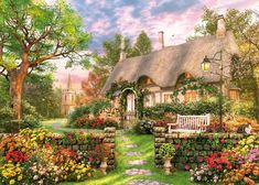 """""""Church Lane Cottage"""" - This #charming scene shows off the #classic #British #village. Great for any one who loves a #quaint #home"""