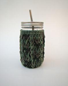 24 oz Camouflage Mason Jar cozy Crochet jar sleeve by HookMadness, $9.00