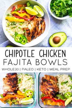 This recipe for Chipotle Chicken Fajita Bowls is perfect for your next meal prep session This dish is Paleo and low carb compliant and super tasty It works for an easy weeknight meal or for quick and easy meal prep lunches paleo keto ketorecipes Easy Meal Prep Lunches, Easy Healthy Meal Prep, Paleo Meal Prep, Prepped Lunches, Meal Prep Bowls, Easy Weeknight Meals, Easy Healthy Recipes, Whole Food Recipes, Dinner Recipes