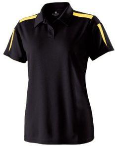 Holloway Sportswear Women's Elite Performance Pique Captivate Polo, Black/light Gold, Small Holloway. $37.99