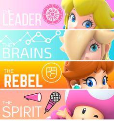 The perfect team of the Super Mario Girls! Super Mario Bros, Super Mario Brothers, Super Smash Bros, Mario Kart, Mario Bros., Mario And Luigi, Super Mario Princess, Nintendo Princess, Donkey Kong