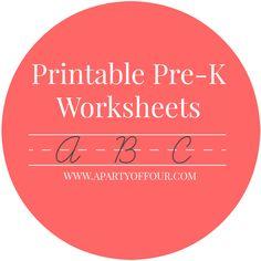 Printable Pre-K Worksheets
