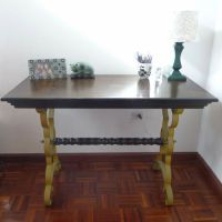 Wood and wrought iron desk
