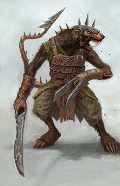 Tesso (Japanese) - Also known as the Iron Rats, these humanoid rats have adamantine teeth and nails and use adamantine tools for battle.  They can memorize everything they eat, and so many Tesso mages eat entire spelltomes to learn everything in it. They also controll other rat creatures such as Dire Rats, Lavellan and Rat Kings.