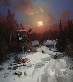 Painting Winter road Oil painting Hand by UkrainianTradition