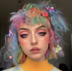 Security Check Required - Soft girl aesthetic makeup - Sec Hairstyles With Bangs, Pretty Hairstyles, Girl Hairstyles, Aesthetic Hair, Aesthetic Makeup, Aesthetic Grunge, Hair Inspo, Hair Inspiration, Hair Rainbow