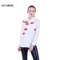 GCAROL Women Red Lips Print Blouse Turn-Dow Collar Asymmetric White Shirt  OL Fashion Character Blouse Tops For 4 Season
