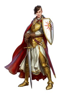 Female Human Paladin or Warpriest or Cleric of Iomedae - Pathfinder PFRPG DND D&D d20 fantasy