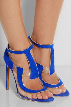 Need these in my life - Antonio Berardi | + Rupert Sanderson Redondo suede and PVC sandals | NET-A-PORTER.COM