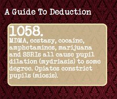 A Guide To Deduction. Also associated with drug use. Way to miss the obvious, Sherlock fandom. The Mentalist, Johnlock, Destiel, The More You Know, Good To Know, Intp, Guide To Manipulation, The Art Of Manipulation, Manipulation Quotes