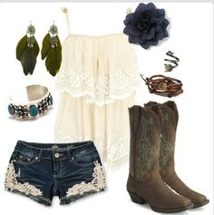 Little Bit of Everything ~~country fashion~~….they even have my boots my honey bought me! Little Bit of Everything ~~country fashion~~….they even have my boots my honey bought me! Country Look, Country Girl Style, Country Fashion, Country Wear, Country Chic, Cowgirl Outfits, Cowgirl Style, Cowgirl Boot, Cute Country Outfits
