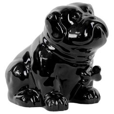 Gloss Black Ceramic Sitting Bulldog Puppy Coin Bank with Bone Pendant on Dog Collar - Overstock™ Shopping - Great Deals on Urban Trends Collection Statues & Sculptures