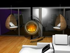 Salon 3d coin cheminée réalisé avec 3ds max
