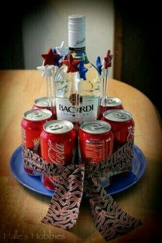 """Rum and Coke """"cake"""" Liquor Bouquet, Candy Bouquet, Birthday Gift For Him, Man Birthday, Cake In A Can, Cute Boyfriend Gifts, Gift Baskets For Men, Alcohol Gifts, Gift Cake"""