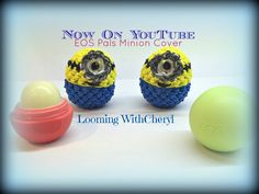 In this Video I will be showing you how to crochet, and create this EOS DIY Lip balm Minions cover. Rainbow Loom Tutorials, Rainbow Loom Patterns, Rainbow Loom Creations, Rainbow Loom Bands, Rainbow Loom Charms, Rainbow Loom Bracelets, Rubber Band Crafts, Rubber Bands, Crazy Loom