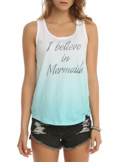"Ombre racer back tank top with  an ""I believe in Mermaids"" text design on front."
