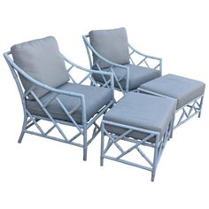 Pair of Chinese Chippendale Faux Bamboo Metal Patio Lounge Armchairs &…