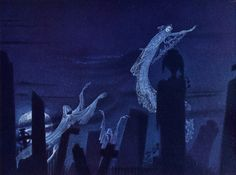 Concept art for the Night on Bald Mountain sequence from Disney's Fantasia (1940). Artwork by Kay Nielsen.