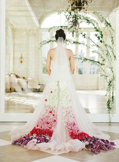OMG. Floral train on 'Florence' -- Glamorous wedding inspiration in New Orleans featuring our 'Florence' ombre ballgown! #pinkweddingdress #weddingideas #weddingdresses