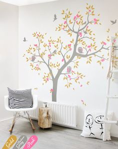 can change colours & reverse image Large Nursery tree wall decal Large tree scene with forest animal stickers Home wall decoration Wall tatoos KW001_2