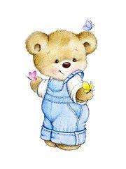 Illustration : Teddy bear and butterflies