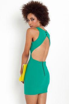 Super Cute Green Cut-Out Dress!